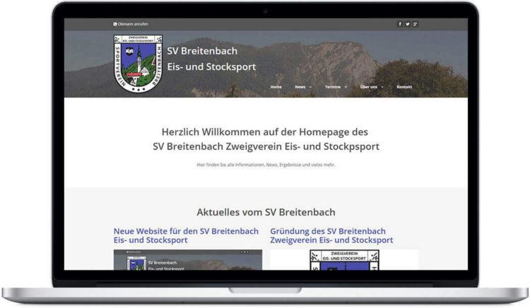 Neue Website für den SV Breitenbach Eis- und Stocksport